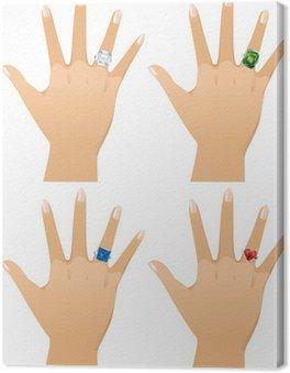 Diamond rings: asscher cut, emerald, princess and heart.