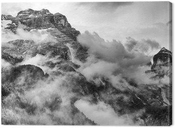 Canvas Print Dolomites Mountains Black and White