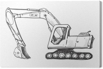 Canvas Print Doodle excavator drawing