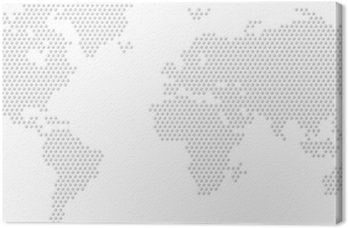 Dotted Map of the World radial fill Canvas Print