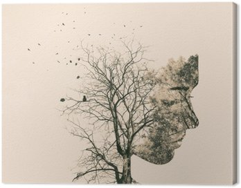 Canvas Print Double exposure portrait of young woman and autumn trees.