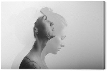 Canvas Print Double exposure with young and beautiful girl, monochrome