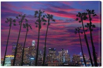 Canvas Print Downtown LA night Los Angeles sunset skyline California