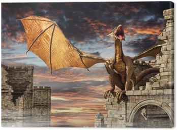 Canvas Print Dragon on castle