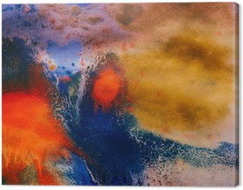 Canvas Print dried streaks of multicolored paint with cracks