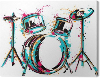 Canvas Print Drum kit with splashes in watercolor style. Colorful hand drawn vector illustration