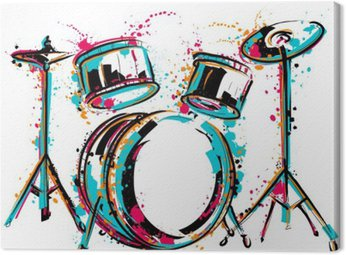 Drum kit with splashes in watercolor style. Colorful hand drawn vector illustration