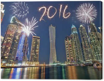 Canvas Print Dubai newyear fireworks 2016