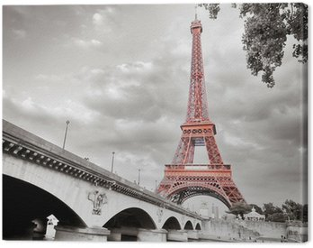 Eiffel tower monochrome selective colorization Canvas Print
