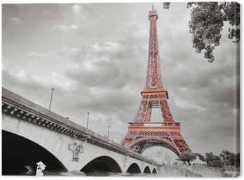 Canvas Print Eiffel tower monochrome selective colorization