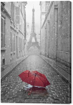 Eiffel tower view from the street of Paris Canvas Print