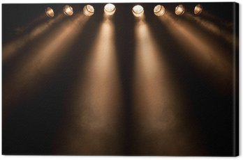 Canvas Print Eight divergent spotlights at night