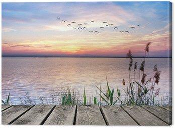 Canvas Print el lago de las nubes de colores