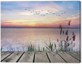 el lago de las nubes de colores Canvas Print