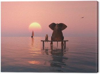 elephant and dog sitting in the middle of the sea Canvas Print