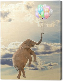 Elephant Flying With Balloon Canvas Print