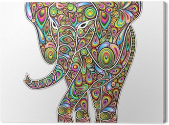Elephant Psychedelic Pop Art Design on White