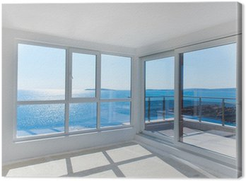 Canvas Print Empty room with sea view