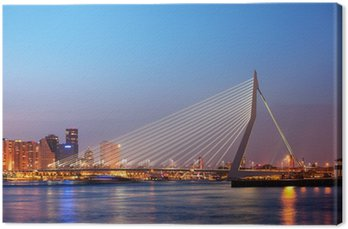 Canvas Print Erasmus Bridge in Rotterdam at Twilight