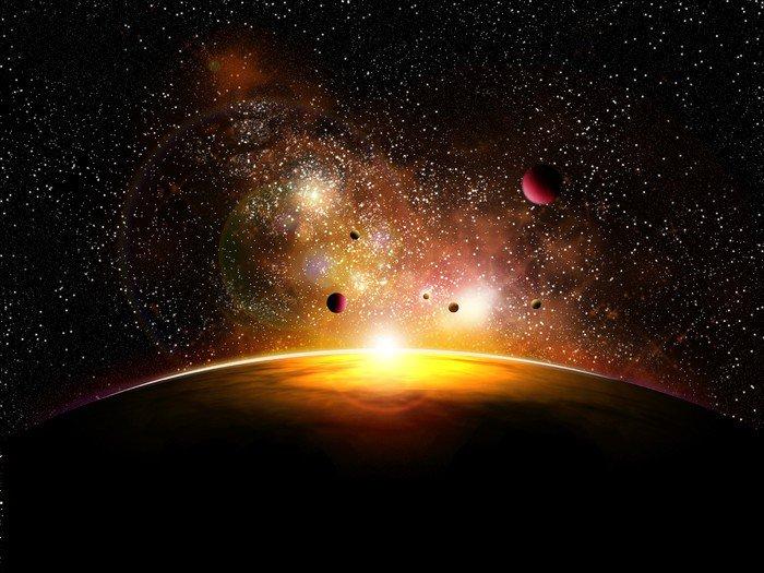 Canvas Print espace et planetes avec constelatin - Universe