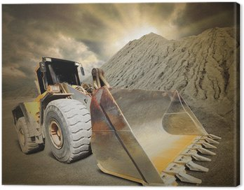 Canvas Print Excavator in the mine. Ecology disaster concept.