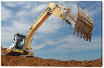 Canvas Print Excavator loader in sandpit