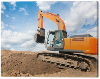 Excavator moves with raised bucket during earth moving works