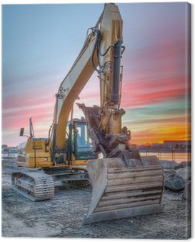 excavator on sunset landscape