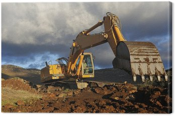 Canvas Print Excavator working on a mountain
