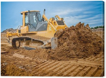 Canvas Print Excavator working with earth and sand in sandpit