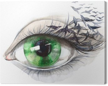 Canvas Print eye with birds (series C)