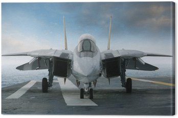 Canvas Print F-14 jet fighter on an aircraft carrier deck viewed from front