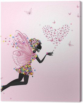 Canvas Print Fairy with a valentine of butterflies