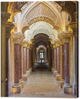 Fairytale corridor of Monserrate Palace in Sintra town, Portugal Canvas Print