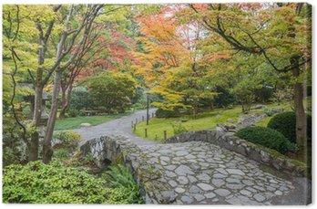 fall foliage stone bridge japanese garden canvas print - Japanese Garden Stone Bridge