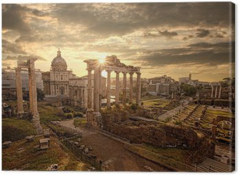 Famous Roman ruins in Rome, Capital city of Italy Canvas Print