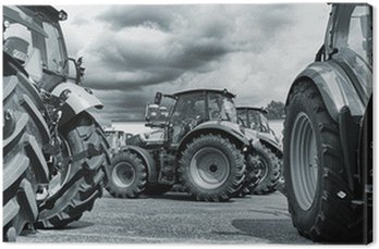 Canvas Print farming tractor line-ups, plows and machinery