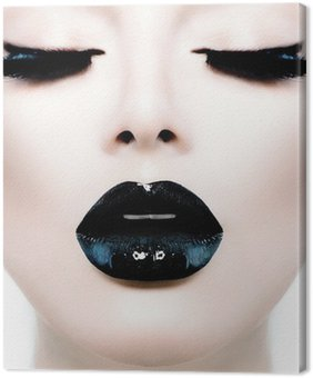 Fashion Beauty Model Girl with Black Make up and Long Lushes Canvas Print