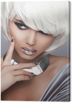Fashion Blond Girl. Beauty Portrait Woman. White Short Hair. Sex