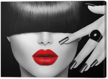 Fashion Model Girl with Trendy Hairstyle, Makeup and Manicure Canvas Print