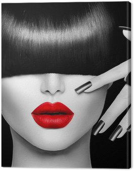 Canvas Print Fashion Model Girl with Trendy Hairstyle, Makeup and Manicure