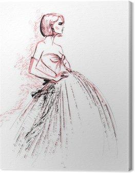 Fashion model wearing evening dress