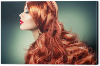 Canvas Print Fashion Red Haired Girl Portrait