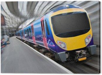 Fast Modern Passenger Train with Motion Blur Canvas Print