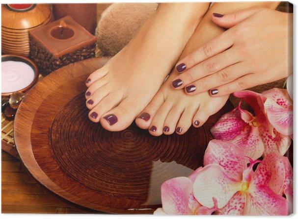 female feet at spa salon on pedicure procedure Canvas ...