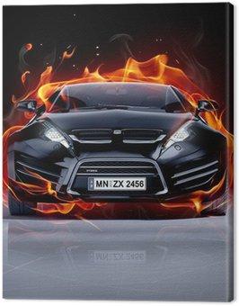 Canvas Print Fire car on ice. Brandless sports car.