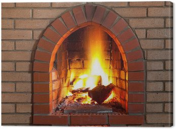 Canvas Print fire in fireplace