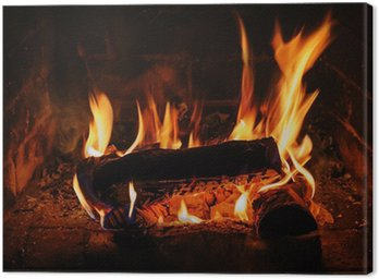 Canvas Print Fireplace with birch firewood and flame.