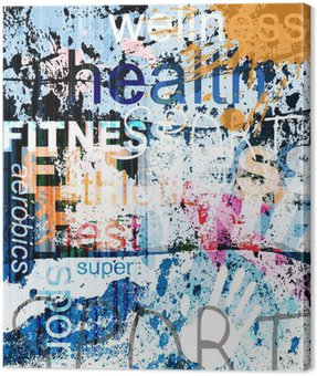 Canvas Print FITNESS. Word Grunge collage on background.