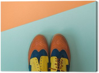 Canvas Print Flat lay fashion set: colored vintage shoes on colored background. Top view.